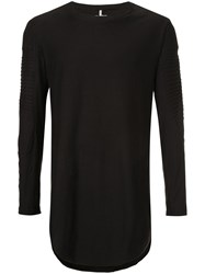 First Aid To The Injured Long Line Shirt With Ribbed Panel Details Unisex Cotton Black