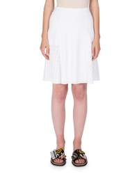 Kenzo Scalloped Knit A Line Skirt White