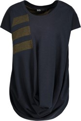 Y 3 Adidas Draped Printed Cotton Blend T Shirt Midnight Blue