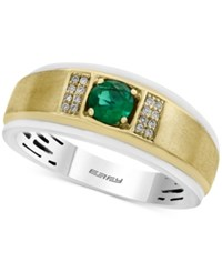Effy Men's Emerald 1 2 Ct. T.W. And Diamond Accent Ring In 14K Gold And White Gold Green