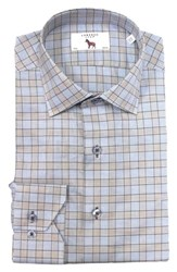 Lorenzo Uomo 'S Big And Tall Trim Fit Box Check Dress Shirt Tan Light Blue