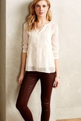 Anthropologie Dotty Lace Peasant Blouse Cream