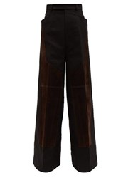 Rick Owens Oversized Patchworked Cotton Twill Trousers Black Brown