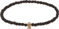 Luis Morais Black Beaded Mini Yellow Gold Skull Bracelet