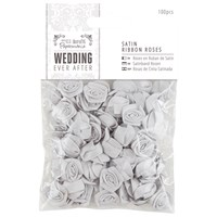 Docrafts Wedding Ever After Satin Ribbon Roses Silver 100Pcs