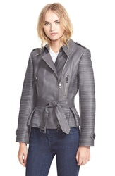 Burberry 'Brinkburn' Belted Lambskin Leather Jacket Dark Grey