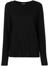 Tom Ford Long Sleeved T Shirt Cotton Black