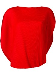 Issey Miyake Pleats Please By Curved Hem Blouse Red