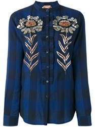 N 21 No21 Sequin Embellished Plaid Shirt Blue