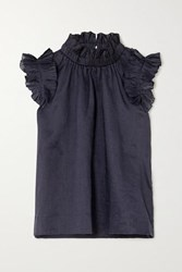 Sea Lucy Ruffled Ramie Blouse Navy
