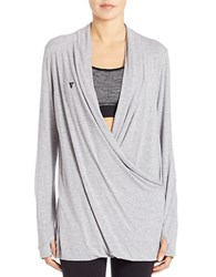 Y.A.S Draped Melange Surplice Top Grey Melange