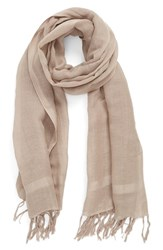 Women's Caslon Linen Blend Scarf Brown Tan Cinder