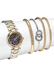 Adrienne Vittadini Crystal Bracelet Watch And Bangle Bracelet Set Gold Silver