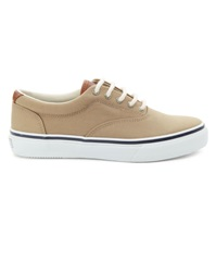 Sperry Striper Beige Leather And Canvas Sneakers