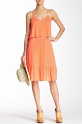 Candc California Ruffled Linen Sundress Orange