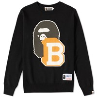 A Bathing Ape Lettered Jacquard Crew Knit Black