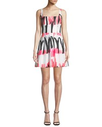 Milly Camila Modern Scribble Print Fit And Flare Dress Multi