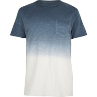River Island Mens Blue Dip Dye Raw Cut Pocket T Shirt