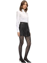 Wolford Crossband Net Stay Up Stockings Black
