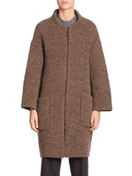 Piazza Sempione Virgin Wool And Cashmere Blend Ribbed Overcoat Camel