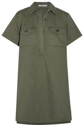 Alexander Wang T By Cotton Twill Mini Dress Army Green