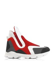 Maison Martin Margiela Red Gray Neoprene And White Leather High Top Women's Shoes