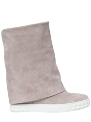 Casadei 80Mm Suede Wedge Sneakers Light Pink