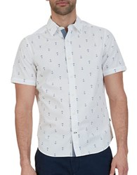 Nautica Big And Tall Anchor Printed Casual Cotton Shirt Bright White