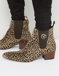 Jeffery West Sylvian Pony Leopard Chelsea Boots Tan