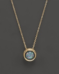 Bloomingdale's Black Opal Bezel Set Pendant Necklace In 14K Yellow Gold 17