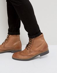 Frank Wright Milled Brogue Boots Tan Leather Tan
