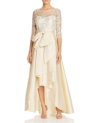 Adrianna Papell Lace High Low Gown Champagne