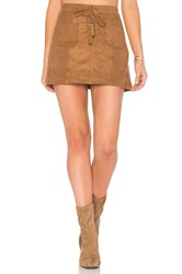 Ella Moss Connelly Faux Suede Skirt Cognac