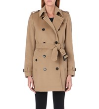 Burberry The Kensington Mid Length Wool And Cashmere Blend Trench Coat Camel