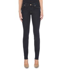 7 For All Mankind Rozie Slim Illusion Super Skinny High Rise Jeans Long Beach Dark