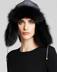 Maximilian Fox Fur Trim Trooper Hat Grey Black