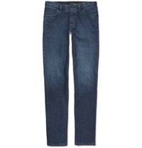 Brioni Slim Fit Washed Denim Jeans Blue