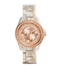 Fossil Ladies Shimmer Horn Riley Glitz Bracelet Watch Two Tone