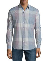 7 For All Mankind Large Plaid Long Sleeve Sport Shirt White White Wash Plaid