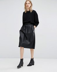 Dr. Denim Dr Leather Look Midi Skirt Black