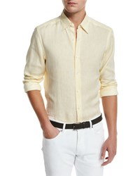 Ermenegildo Zegna Linen Woven Sport Shirt Light Yellow Lt Yel Sld