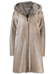 Manzoni 24 Fur Trimmed Coat Neutrals