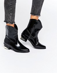 Daisy Street Western Flat Ankle Boots Black High Shine