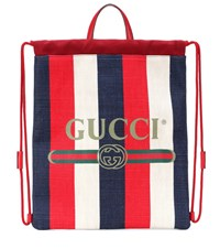 Gucci Striped Drawstring Backpack Multicoloured