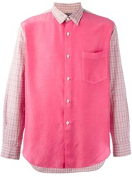 Comme Des Garcons Gara Ons Vintage Checked Panelled Shirt Pink And Purple