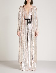 Temperley London Bardot Sequinned Coat Porcelain