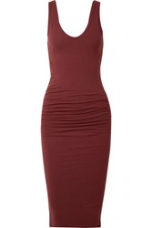James Perse Ruched Stretch Cotton Jersey Midi Dress Claret Gbp