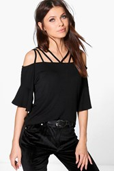 Boohoo Strappy Neck Flare Sleeve Top Black