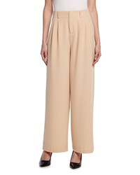 Romeo And Juliet Couture Crepe High Waist Wide Leg Pants Camel