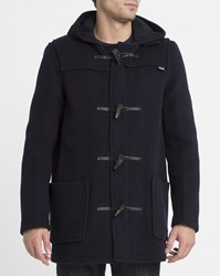Gloverall Navy Mid Length Tartan Lined Duffle Coat Blue